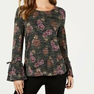 STYLE & CO Floral Printed Lantern Sleeve Top
